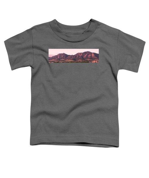 Boulder Colorado Flatirons 1st Light Panorama Toddler T-Shirt