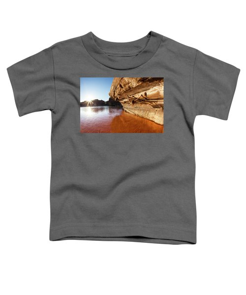 Toddler T-Shirt featuring the photograph Bouldering Above River by Whit Richardson