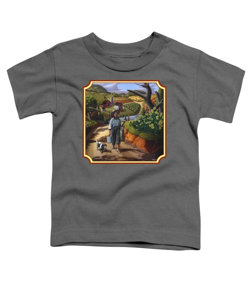 Boy And Dog Country Farm Life Landscape - Square Format Toddler T-Shirt