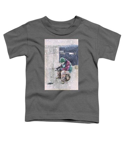 Boy Ice Fishing  Toddler T-Shirt