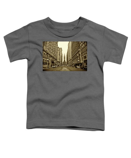 Broad Street Facing Philadelphia City Hall In Sepia Toddler T-Shirt
