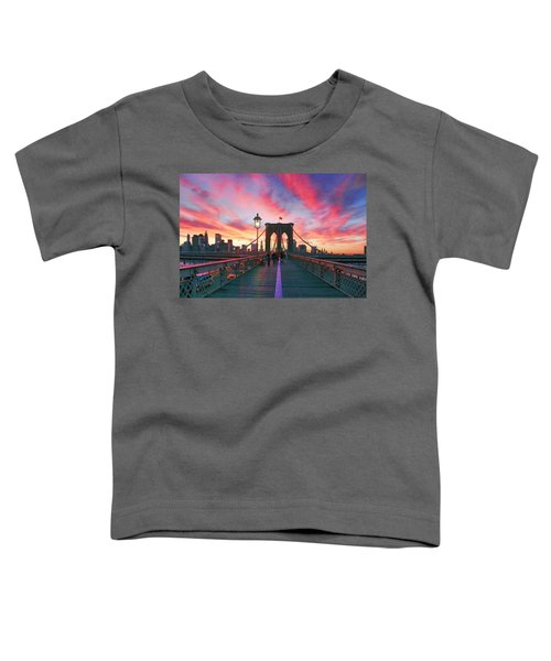 Brooklyn Sunset Toddler T-Shirt by Rick Berk