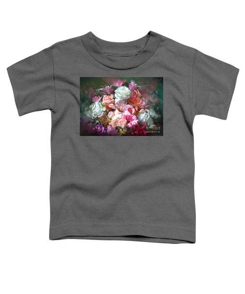 Toddler T-Shirt featuring the painting Bunch Of Roses by Tithi Luadthong