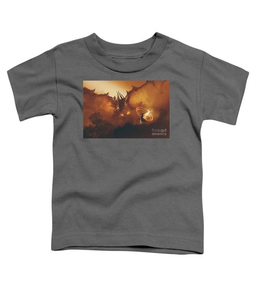 Toddler T-Shirt featuring the painting Calling Of The Dragon by Tithi Luadthong
