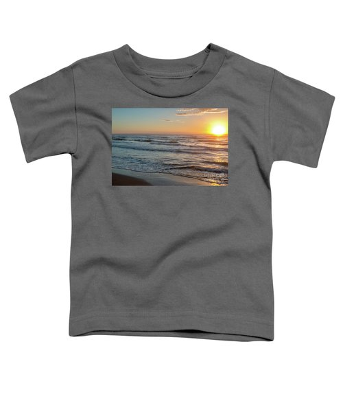 Calm Water Over Wet Sand During Sunrise Toddler T-Shirt