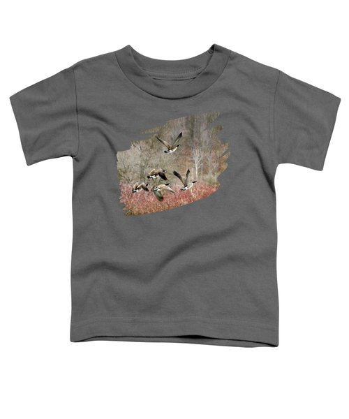 Canada Geese In Flight Toddler T-Shirt by Christina Rollo