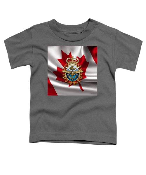 Canadian Forces Emblem Over Flag Toddler T-Shirt