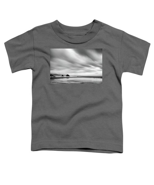 Cannon Beach Long Exposure Sunrise In Black And White Toddler T-Shirt