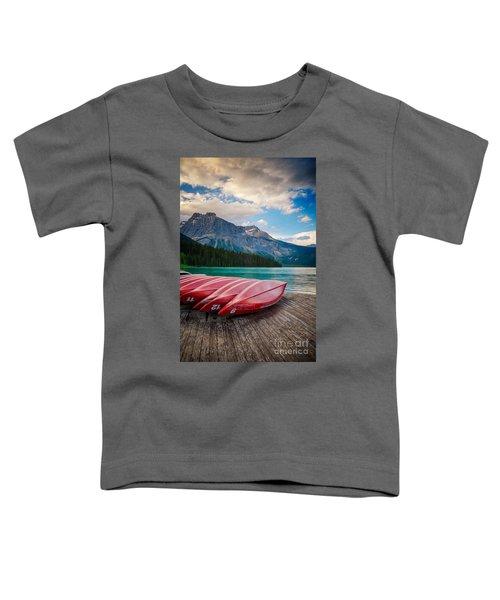 Canoes At Emerald Lake In Yoho National Park Toddler T-Shirt