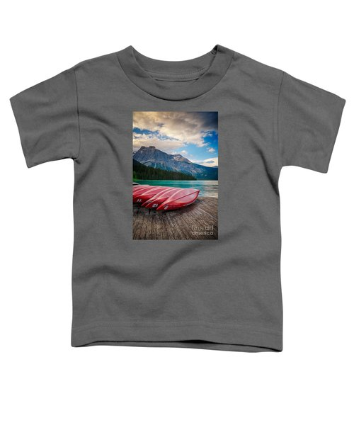 Canoes At Emerald Lake In Yoho National Park Toddler T-Shirt