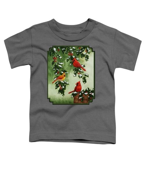Cardinals And Holly - Version With Snow Toddler T-Shirt by Crista Forest