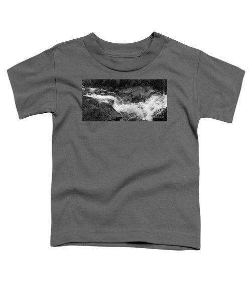 Cascade Stream Gorge, Rangeley, Maine  -70756-70771-pano-bw Toddler T-Shirt