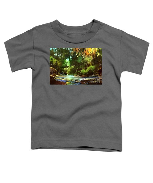 Toddler T-Shirt featuring the painting Cascades In Forest by Tithi Luadthong