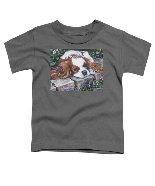 Cavalier King Charles Spaniel In The Pansies  Toddler T-Shirt
