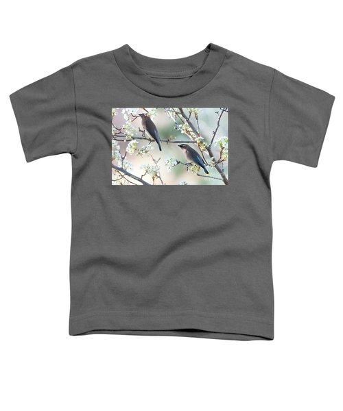 Cedar Wax Wing Pair Toddler T-Shirt by Jim Fillpot
