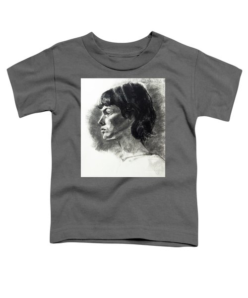 Charcoal Portrait Of A Pensive Young Woman In Profile Toddler T-Shirt