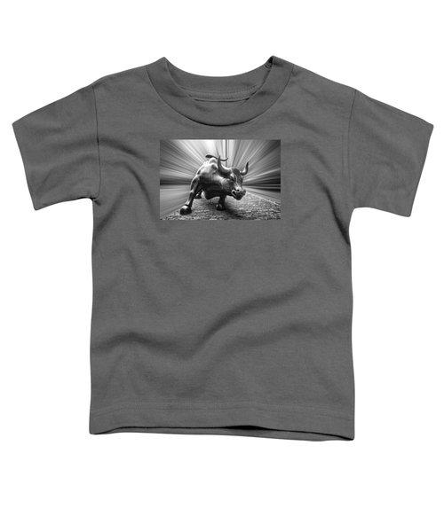 Charging Wall Street Bull B W Toddler T-Shirt