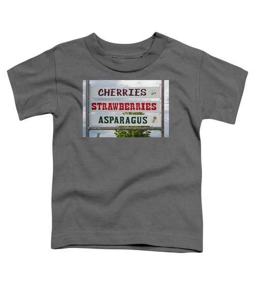 Cherries Strawberries Asparagus Roadside Sign Toddler T-Shirt by Steve Gadomski