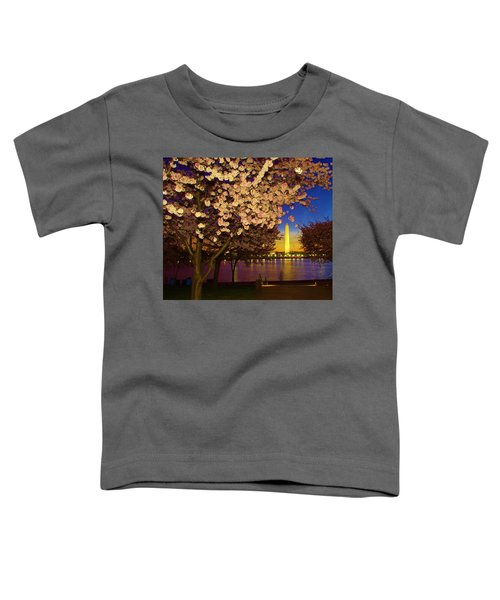 Cherry Blossom Washington Monument Toddler T-Shirt