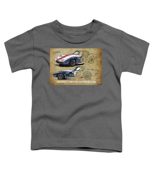 Chevrolet Corvette Convertible L88 1968,original Fast Race Car. Two Drawings, One Print Toddler T-Shirt