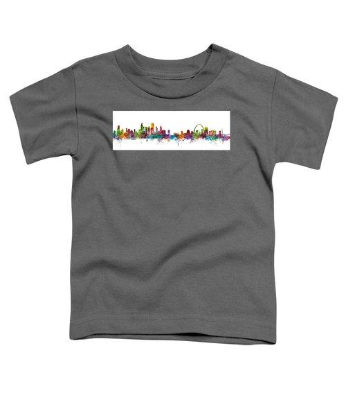Chicago And St Louis Skyline Mashup Toddler T-Shirt by Michael Tompsett