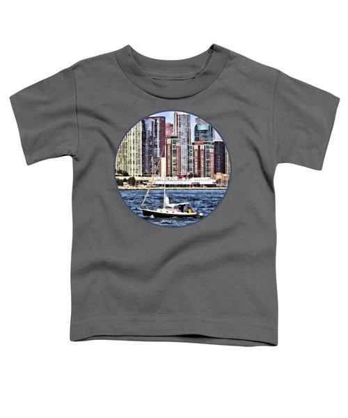 Chicago Il - Sailing On Lake Michigan Toddler T-Shirt by Susan Savad