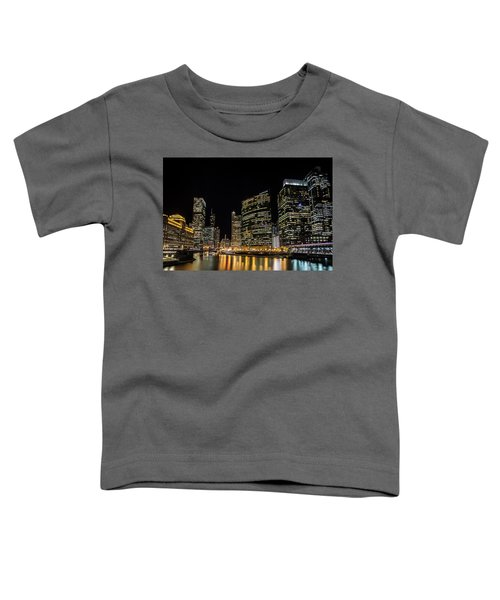 Chicago Night Skyline From Wolf Point Toddler T-Shirt