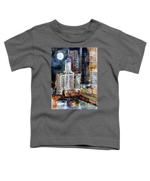 Chicago Night Wrigley Building Art Toddler T-Shirt