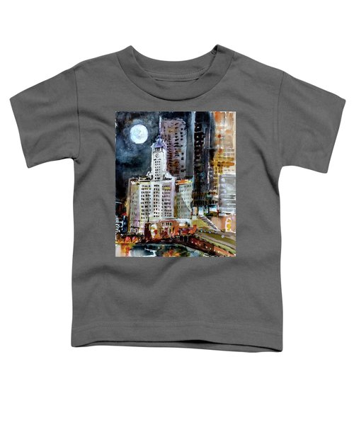 Chicago Night Wrigley Building Art Toddler T-Shirt