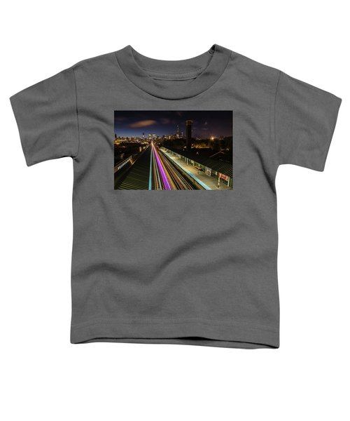 Chicago Skyline And Train Lights Toddler T-Shirt