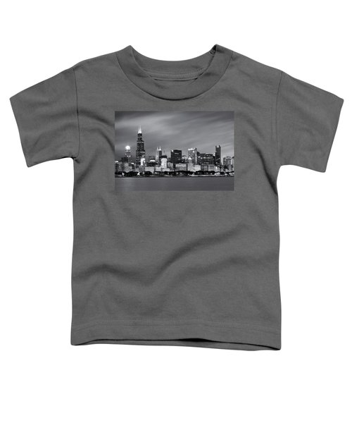 Chicago Skyline At Night Black And White  Toddler T-Shirt by Adam Romanowicz