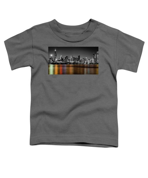 Chicago Skyline - Black And White With Color Reflection Toddler T-Shirt