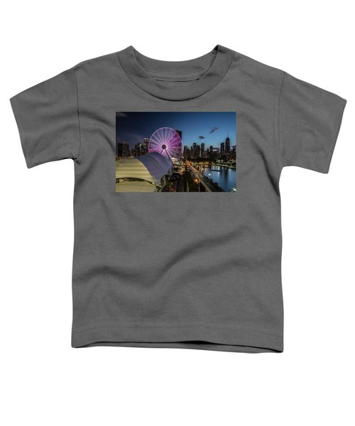 Chicago Skyline With New Ferris Wheel At Dusk Toddler T-Shirt