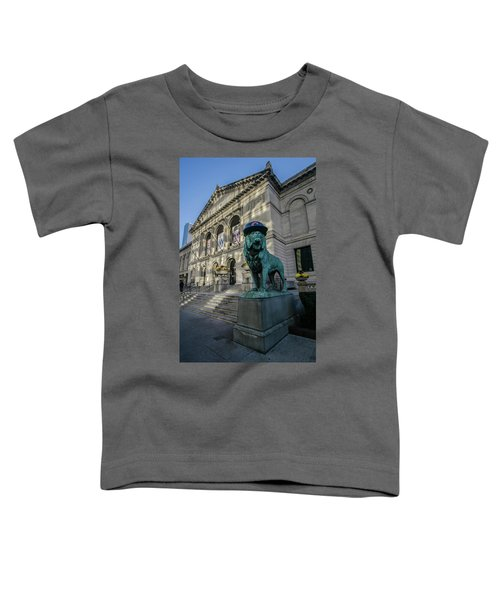 Chicago's Art Institute With Cubs Hat Toddler T-Shirt