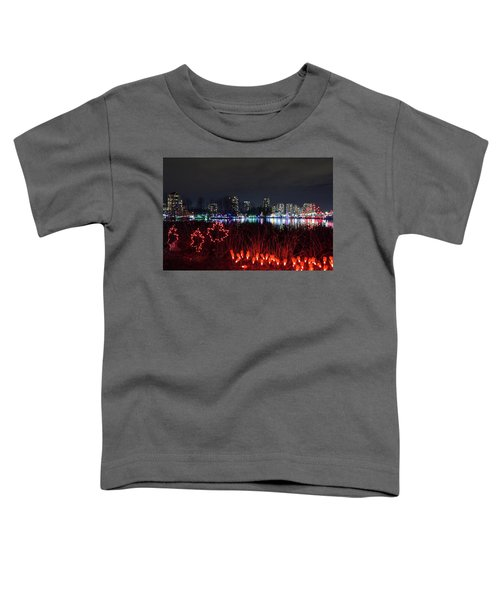 Christmas Lights At Lafarge Lake In City Of Coquitlam Toddler T-Shirt
