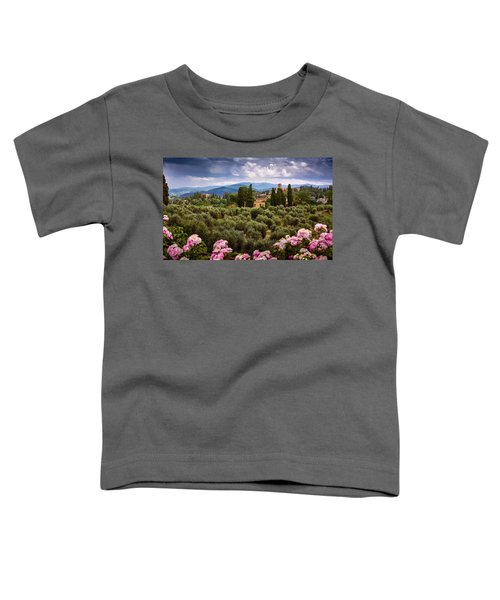 Tuscan Landscape With Roses And Mountains In Florence, Italy Toddler T-Shirt