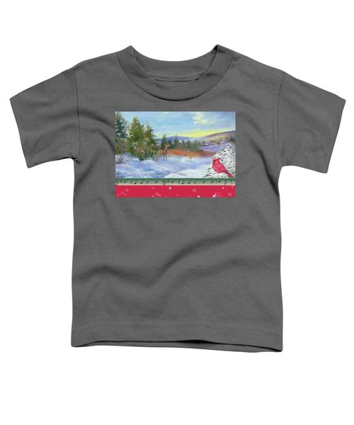 Classic Winterscape With Cardinal And Reindeer Toddler T-Shirt