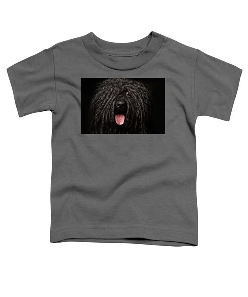 Close Up Portrait Of Puli Dog Isolated On Black Toddler T-Shirt