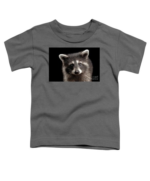 Closeup Portrait Cute Baby Raccoon Isolated On Black Background Toddler T-Shirt