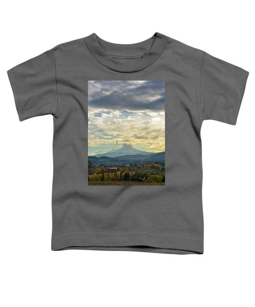 Cloudy Day Over Mount Hood At Hood River Oregon Toddler T-Shirt