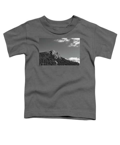 Toddler T-Shirt featuring the photograph Colorado Buffalo Rock With Waxing Crescent Moon In Bw by James BO Insogna