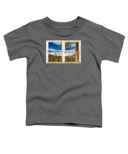 Colorado Rocky Mountain Rustic Window View Toddler T-Shirt