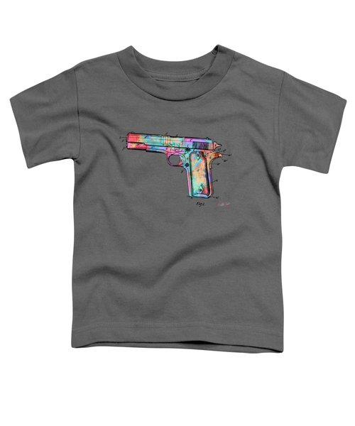 Colorful 1911 Colt 45 Browning Firearm Patent Minimal Toddler T-Shirt