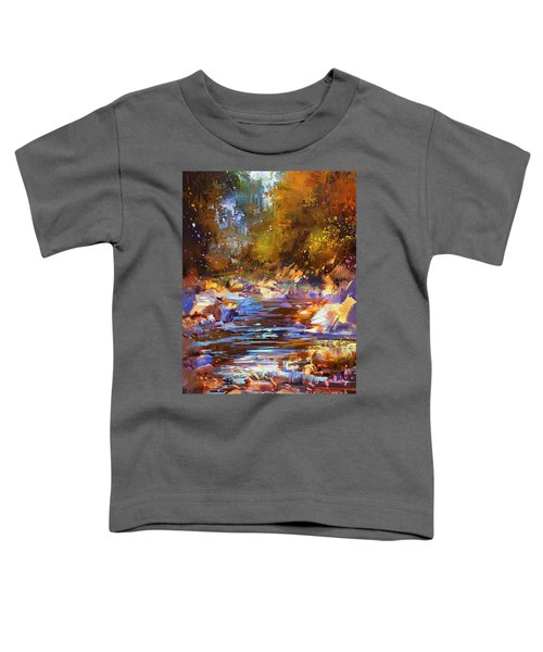 Toddler T-Shirt featuring the painting Colorful River by Tithi Luadthong