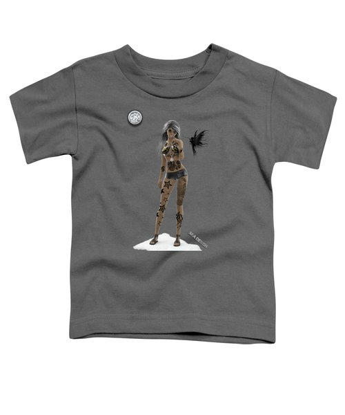 Cool 3d Girl With Bling And Tattoos In Black Toddler T-Shirt