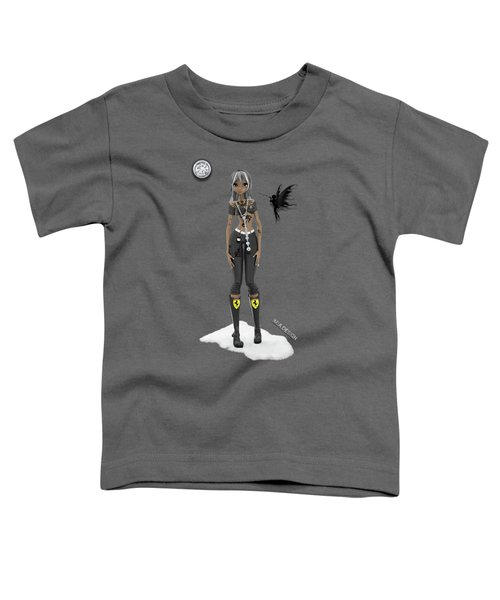 Cool 3d Manga  Girl With Bling And Tattoos In Black Toddler T-Shirt
