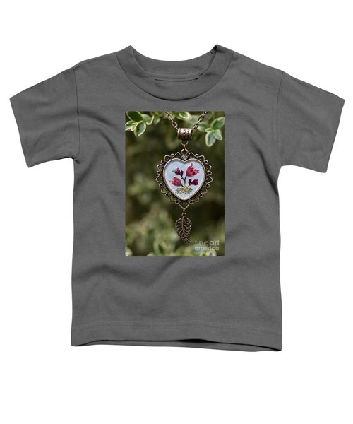 Coral Bell Pressed Flower Pendant Toddler T-Shirt