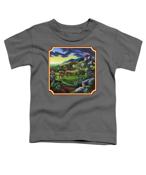 Country Landscape - Deer In The High Meadow - Square Format Toddler T-Shirt