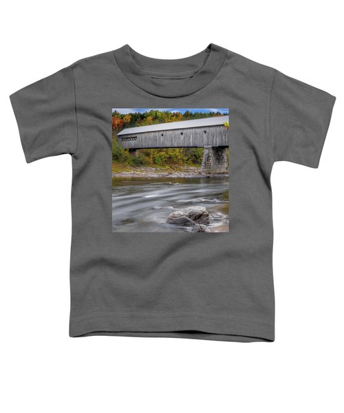 Covered Bridge In Vermont With Fall Foliage Toddler T-Shirt