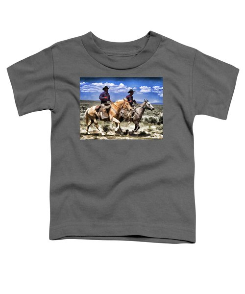 Cowboys On Horseback Riding The Range Toddler T-Shirt